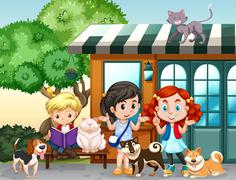 Children playing with cats and dogs Stock Illustration