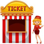 Woman selling ticket at the booth - stock illustration
