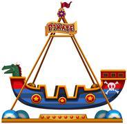 Viking ride in carnival - stock illustration