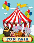 People and animals at the fun fair - stock illustration
