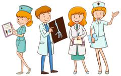 Doctors and nurses with patient files - stock illustration