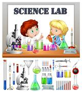 Children working in the science lab Stock Illustration