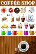 Different kind of drinks and desserts in coffee shop - stock illustration