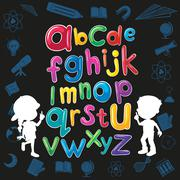Children and English alphabet - stock illustration