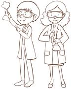 Male and female scientists - stock illustration