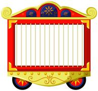 Circus style of animal cage - stock illustration