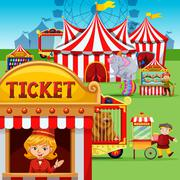 Ticket booth at the carnival - stock illustration