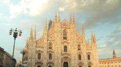 The Duomo, Milan: time-lapse of cathedral at sunset, no people Stock Footage