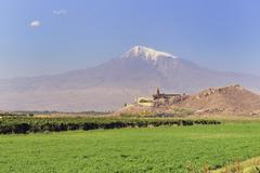 Khor Virap in front of Mount Ararat Armenia Asia Stock Photos