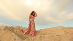 beautiful young woman walking on the beach slow motion - stock footage