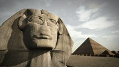 Animation of the Sphinx at the Giza platform, Egypt - stock footage