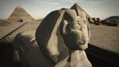 Animated Sphinx at the Giza platform, Egypt Stock Footage