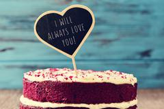 Cake and text I will always love you Stock Photos