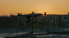 A drone flying in the sunset in slow motion Stock Footage