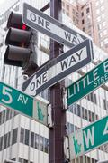 Street signs for Fifth Avenue in New York City Stock Photos