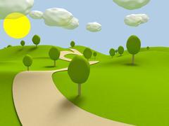 Stock Illustration of Cartoon landscape. 3D visualization
