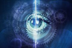 Abstract background with human eye and cogs - stock illustration