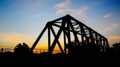 Train on railway bridge. - stock footage