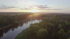 sunset forest river sky hight aerial panorama belarus - stock footage