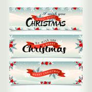 Stock Illustration of Snowy christmas banners
