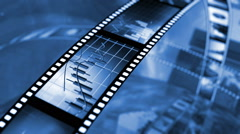 Animated rotating film reels. Black and blue Stock Footage