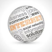 Internet theme sphere with keywords - stock illustration