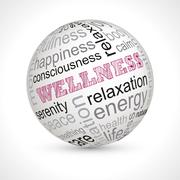 Wellness theme sphere with keywords Stock Illustration