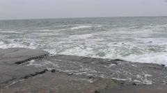 sea with big waves in the winter - stock footage