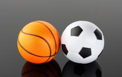 Classic basketball and football Stock Photos