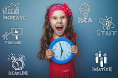 teenage girl shouting holding hands watch rage sad sketch icons - stock photo
