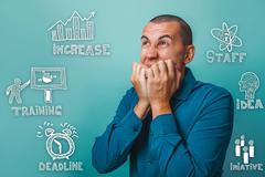 The man put his fingers to his mouth grimace face thumbnail icon Stock Photos