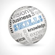 Skills theme sphere with keywords - stock illustration