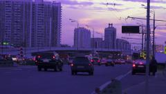 Aerial view of highway interchange in Moscow city at sunset Stock Footage