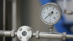 Manometer on laboratory pipeline - stock footage