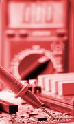 Analyzing electronics circuit Stock Photos