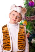 the boy on a feast of new year - stock photo