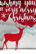 Merry Christmas winter paper cut art deer card Stock Illustration