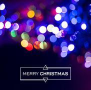 Merry christmas blur bokeh light background - stock illustration
