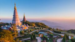 The Great Holy Relics Pagoda Of Chiang Mai, Thailand (zoom in) - stock footage