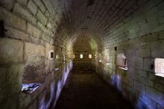 Thurmfort Gorazda fortress narrow dark bastion tunnel - stock photo