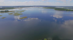 Summer blue sky famous europe lake reflection aerial panorama belarus Stock Footage