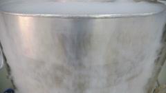 Stainless steel dewar barrel - stock footage