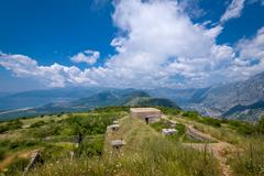Fort Gorazda ruins and wide angle landscape view to Bay of Kotor Stock Photos
