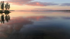 Sunset over the Beloyarsk reservoir. Beloyarsk, Sverdlovsk region, Russia, Stock Footage