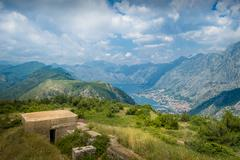 Fort Gorazda ruins and view to Bay of Kotor - stock photo