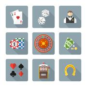 flat style colored various gambling icons collection. - stock illustration