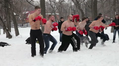 Fighters of fisticuffs at the festival of Maslenitsa in Russia Stock Footage