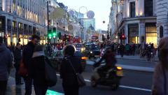 Regent Street Christmas Lights People - stock footage