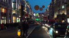 Regent Street Buses + Christmas Lights - stock footage