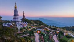 The Great Holy Relics Pagoda Of Chiang Mai, Thailand (zoom out) - stock footage